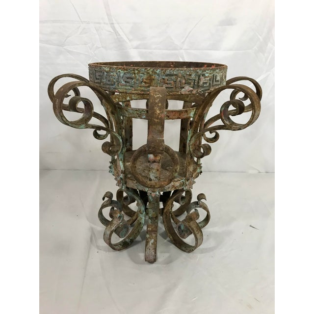 Wrought Iron Fretwork Planters a Pair For Sale - Image 6 of 13