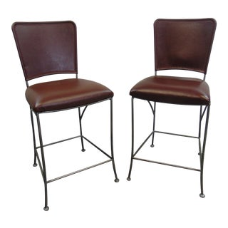 Rustic Leather & Iron Bar Stools - a Pair For Sale