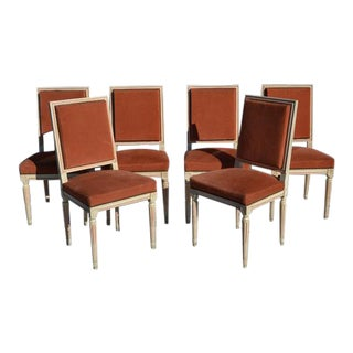 Set of 6 French Square Back Dining Chairs For Sale