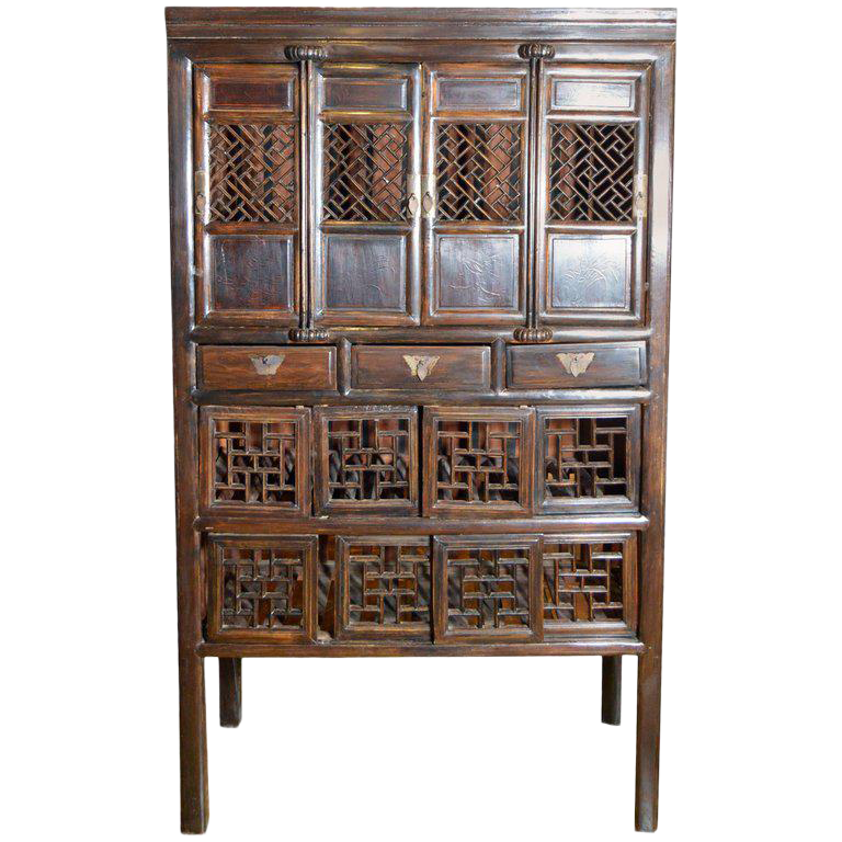 19th Century Chinese Stained Three Drawer Cabinet With Fretwork Doors