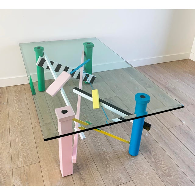 Metal Post Modern Memphis Milano Style Coffee Table For Sale - Image 7 of 9