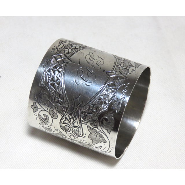 Engraving Large Antique Sterling Silver Napkin Ring For Sale - Image 7 of 7