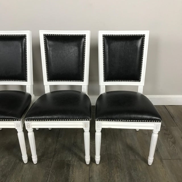 Leather Louis Dining Chairs - Set of 4 - Image 5 of 11