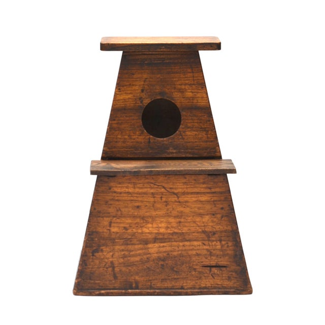 Asian Antique Japanese Wood Step Stool For Sale - Image 3 of 5