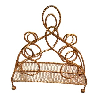 Hollywood Regency Gold Metal Looped Rope Magazine Rack For Sale