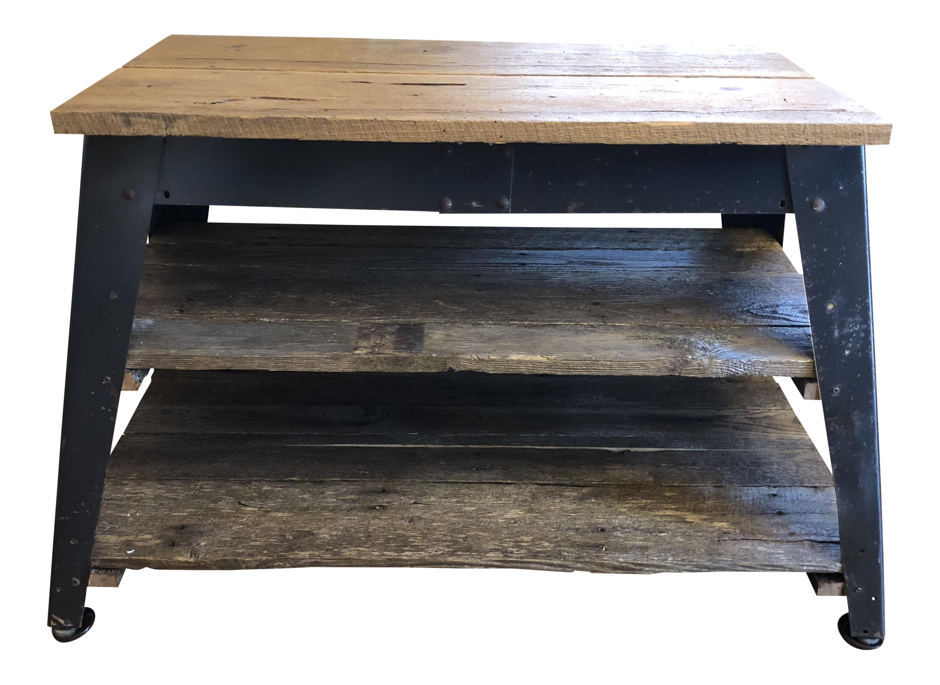 Bon Industrial Barnwood Console Table For Sale