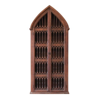 Vintage Spanish Gothic Cathedral Style Rustic Pine Bookcase or Cabinet For Sale