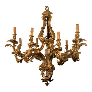 Antique Baroque Gilt Wood and Rock Crystal 9 Light Chandelier For Sale