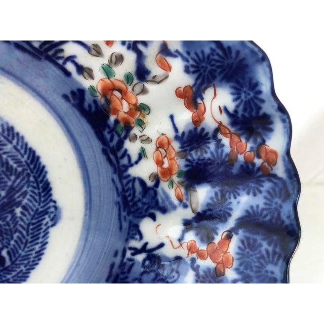 Ceramic Antique Japanese Imari Oval Scalloped Bowl For Sale - Image 7 of 12