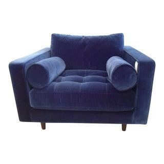 Navy Blue Velvet Armchair