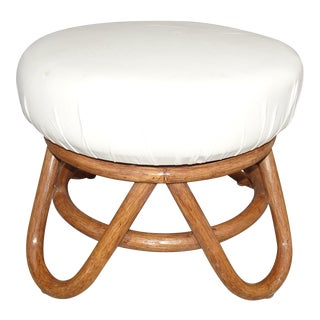 Vintage Mid Century Modern Bamboo Rattan White Swivel Stool Bench For Sale