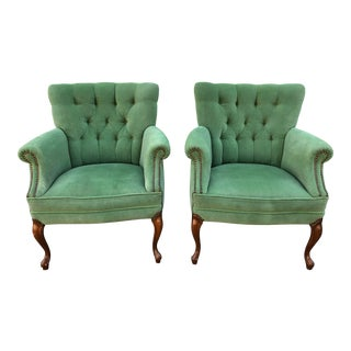 20th Century Hollywood Regency Vintage Tufted Velour Armchairs - a Pair For Sale