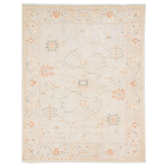 Jaipur Living Phillips Hand-Knotted Floral Light Blue / Cream Area Rug - 9′ × 12′ For Sale