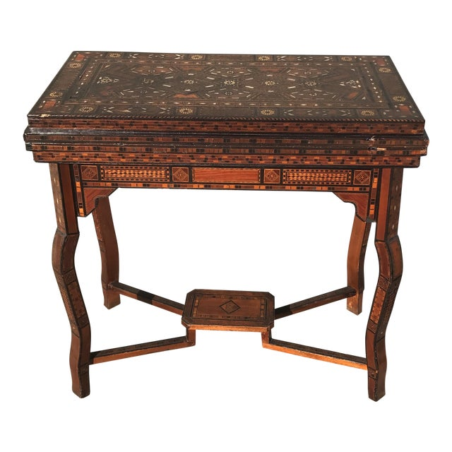 Antique Syrian Inlaid Game Table For Sale