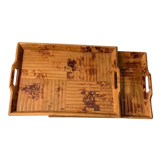 Vintage Bamboo and Wood Trays - a Pair For Sale