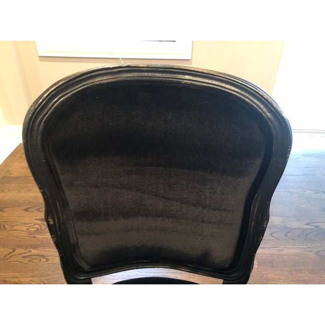 Textile Traditional French Black Velvet Side Chairs - a Pair For Sale - Image 7 of 10