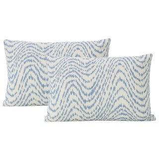 "12"" X 18"" Woven Flamestitch Chambray Lumbar Pillows - a Pair For Sale"
