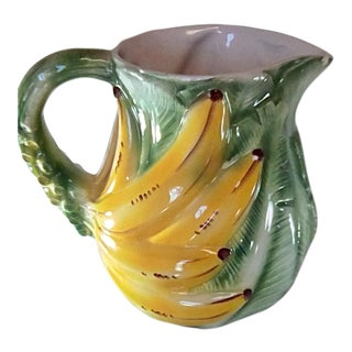 Vintage Mid-Century Italian Hand Painted Majolica Banana Pitcher For Sale