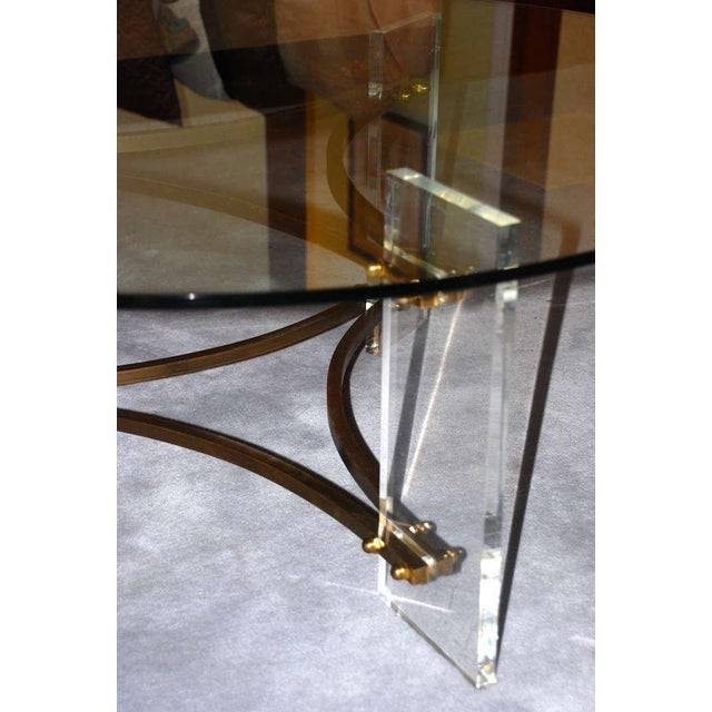 1980s Charles Hollis Jones Brass and Lucite Coffee Table For Sale - Image 5 of 10