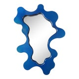 Image of Bert Furnari Abstract Free-Form Aluminum Mirror, Bespoke Blue Finish For Sale