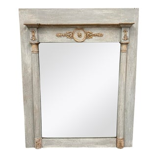 French Empire Style Painted & Parcel Gilt Mirror - Late 19th C For Sale