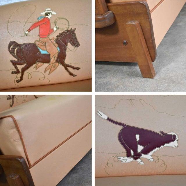 Mid Century Cowboy Western Wagon Wheel Convertible Dude Ranch Sofa For Sale - Image 12 of 13