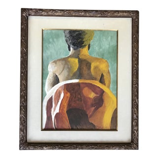 Signed Figurative Oil on Canvas Framed 1972 Terry Rogers For Sale