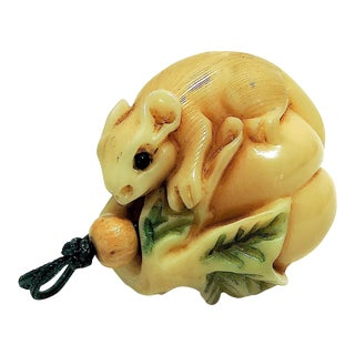 Hand Carved Chinese Netsuke Mouse on Gourd With Cord For Sale