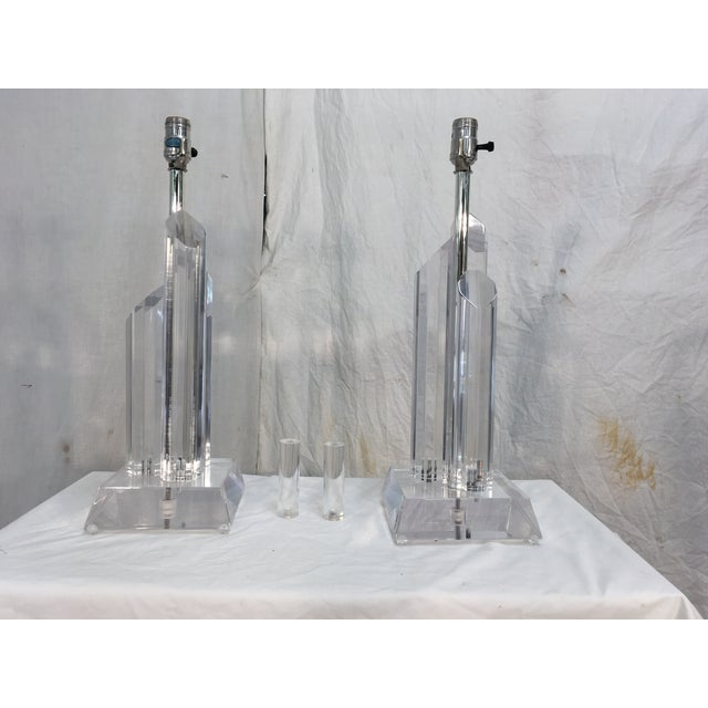 Mid-Century Acrylic Lamps - a Pair - Image 6 of 11