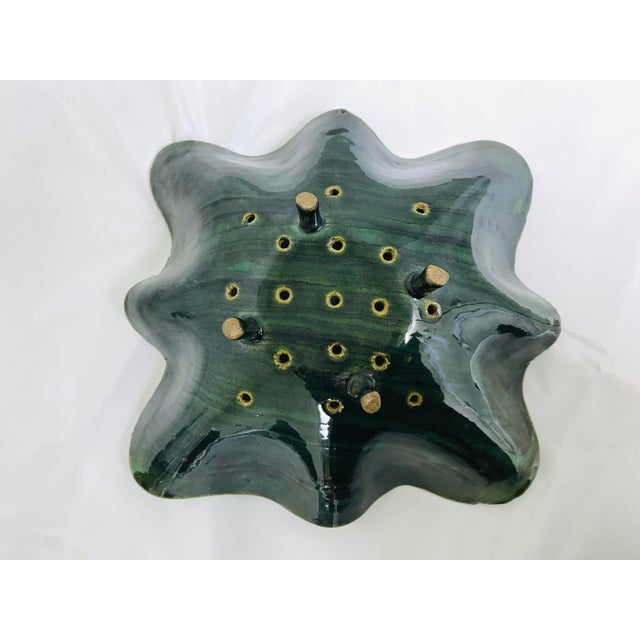 Ceramic Glazed Green Footed Berry Pottery Bowl For Sale - Image 7 of 12
