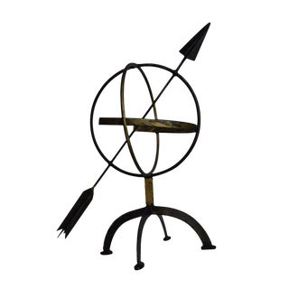 Vintage French Armillary Garden Sphere With Arrow For Sale