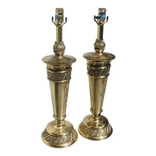 Mid-Century Stiffel Floral Brass Torchieres/ Lamps - a Pair For Sale