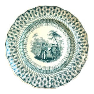 19th-Century Antique Staffordshire Transferware Plate of Penn's Treaty With the American Indians For Sale