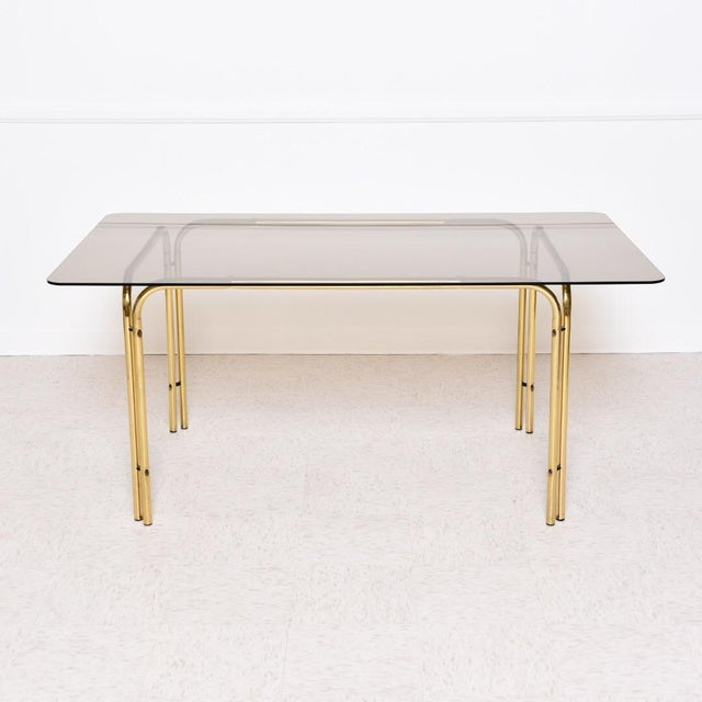 1970s Vintage Italian Smoked Glass Dining Table For Sale - Image 4 of 8