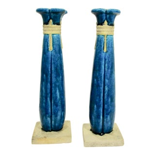 1917 Leon Volkmar for Durant Kiln Egyptian Columns Candlesticks - a Pair For Sale