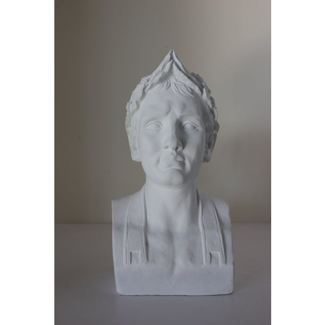 1960s Vintage Male Bust With Laurel Wreath For Sale - Image 5 of 5