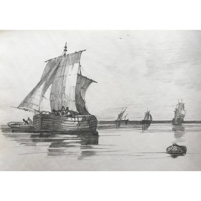 """This is a 19th century French graphite drawing of ships. Matted, unframed. Image size: 6"""" x 9""""."""
