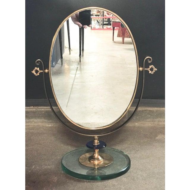 Italian 1960s Neoclassical Italian Midcentury Brass Italy Table Vanity Mirror For Sale - Image 3 of 13