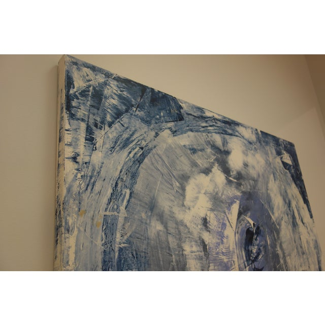 """The Eye"" Blue & White Abstract Painting - Image 5 of 8"