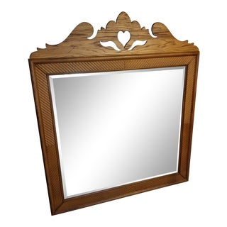 Antique Oak Beveled Mirror For Sale