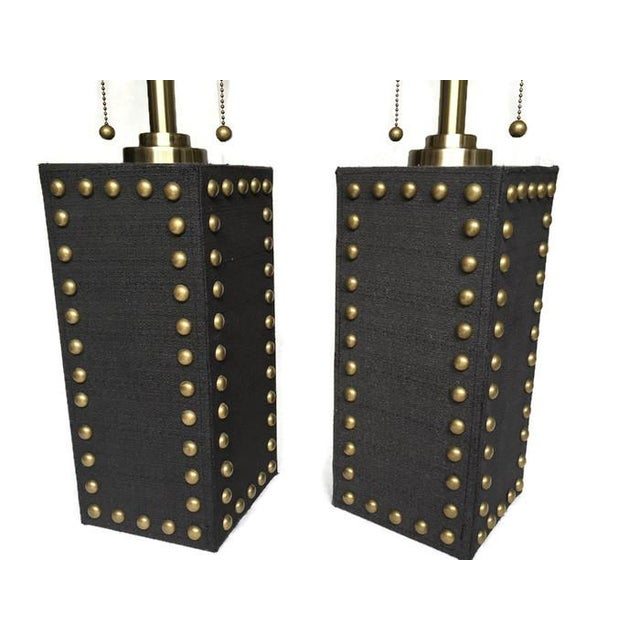 Modern Glam Studded Black & Brass Lamps - Pair - Image 8 of 10