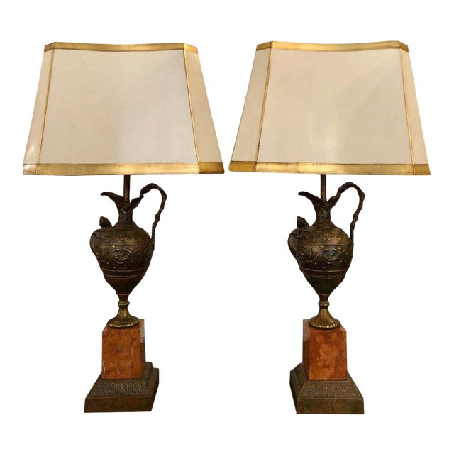 Pair of Antique Bronze Patinated Figural Urn Lamps W Sienna Marble Bases For Sale