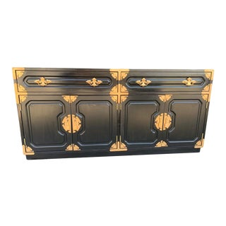 Vintage Bernhardt Asian Chinoiserie Black Lacquered Sideboard/Credenza For Sale