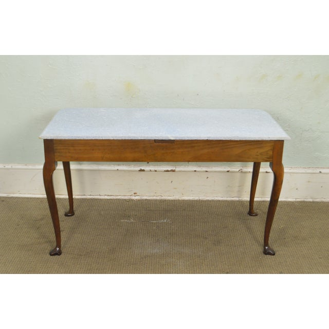 Kittinger Colonial Williamsburg Cwiss Mahogany Marble Top Mixing Table Console For Sale In Philadelphia - Image 6 of 13