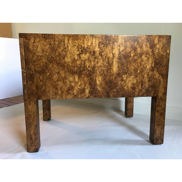 Mid Century Modern Parsons-Style Tortoise Side Table For Sale - Image 4 of 8