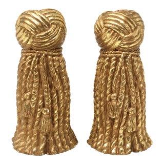 Vintage Gold Rope and Tassel Candlesticks For Sale