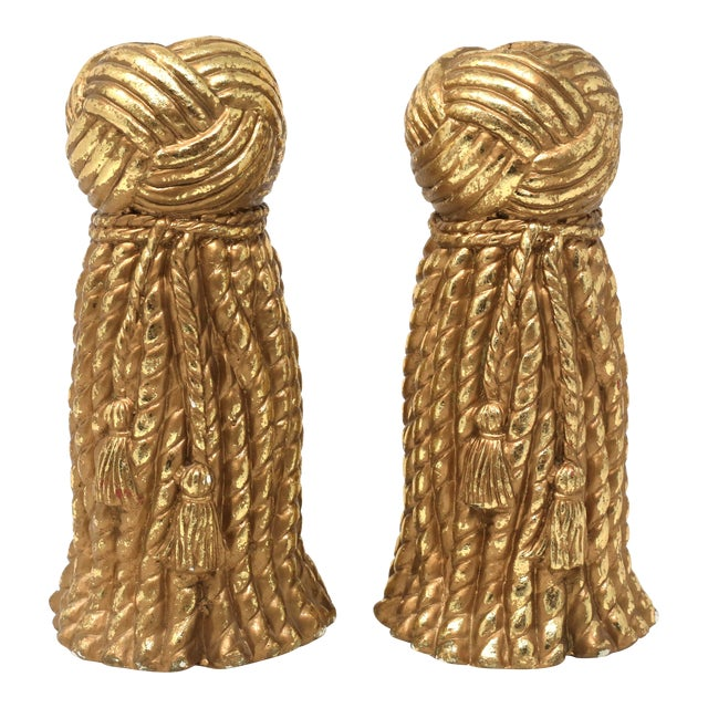Vintage Gold Rope and Tassel Candlesticks For Sale