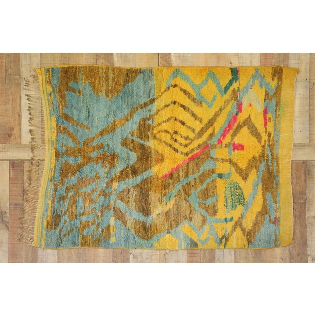 Yellow Contemporary Berber Moroccan Rug - 03'06 X 04'10 For Sale - Image 8 of 10