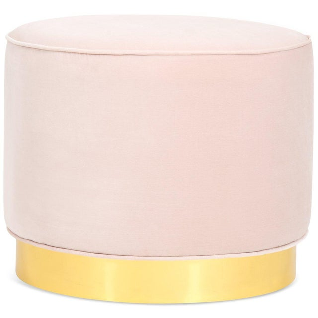 Chubby Ottoman in Blush Pink Velvet For Sale - Image 4 of 4