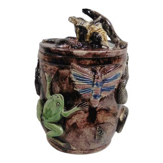 Late 19th Century Antique Manuel Mafra Portuguese Palissy Majolica Jar For Sale